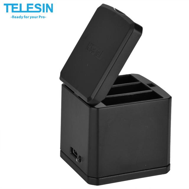 TELESIN 3-Channel Charger with storage box desogn แท่นชาร์จแบตเตอรี่ 3 ช่องสำหรับ GoPro Hero 5 6