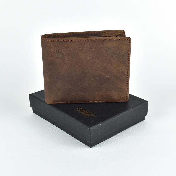 OW-847 ของขวัญวันเกิด กระเป๋าสตางค์ผู้ชาย หนังแท้ ใบสั้น สีน้ำตาล