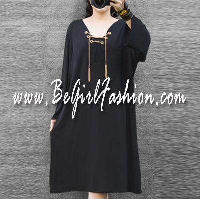 มินิเดรสผ้ายืด HK สีดำ แต่งโซ่ทอง ( Size ใหญ่ 46-50 )