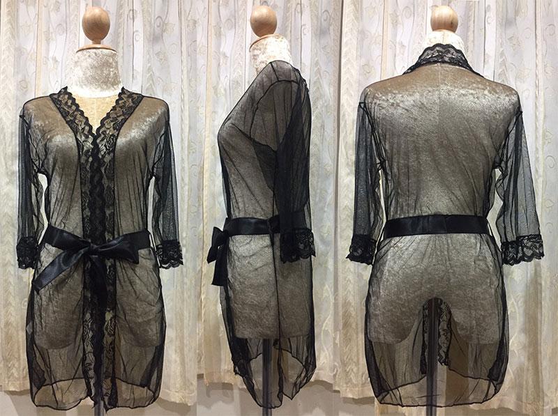 เสื้อคลุม/ชุดนอนซีทรู สีดำ ปลายแขนประดับลูกไม้ ภาพสินค้าจริง