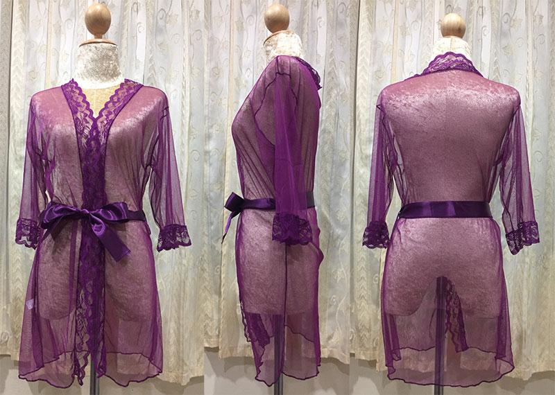 เสื้อคลุม/ชุดนอนซีทรู สีม่วง ปลายแขนประดับลูกไม้ ภาพสินค้าจริง