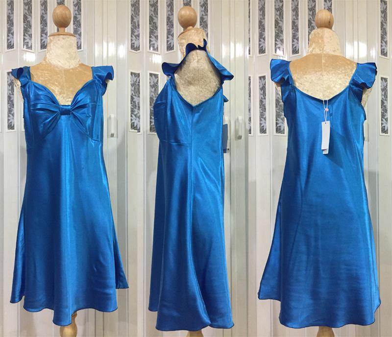 ภาพสินค้าจริง ชุดนอนผ้าซาติน แขนกุด โบว์เต็มหน้าอก สีฟ้า