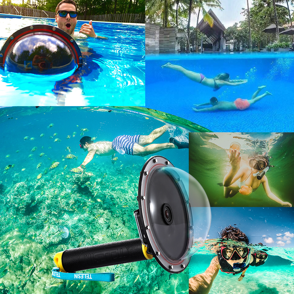 """TELESIN 6"""" Underwater Dome Port Diving Lens Photography Dome Port for the Gopro Hero 5 6 Black (T05 Dome Port,Yellow )"""