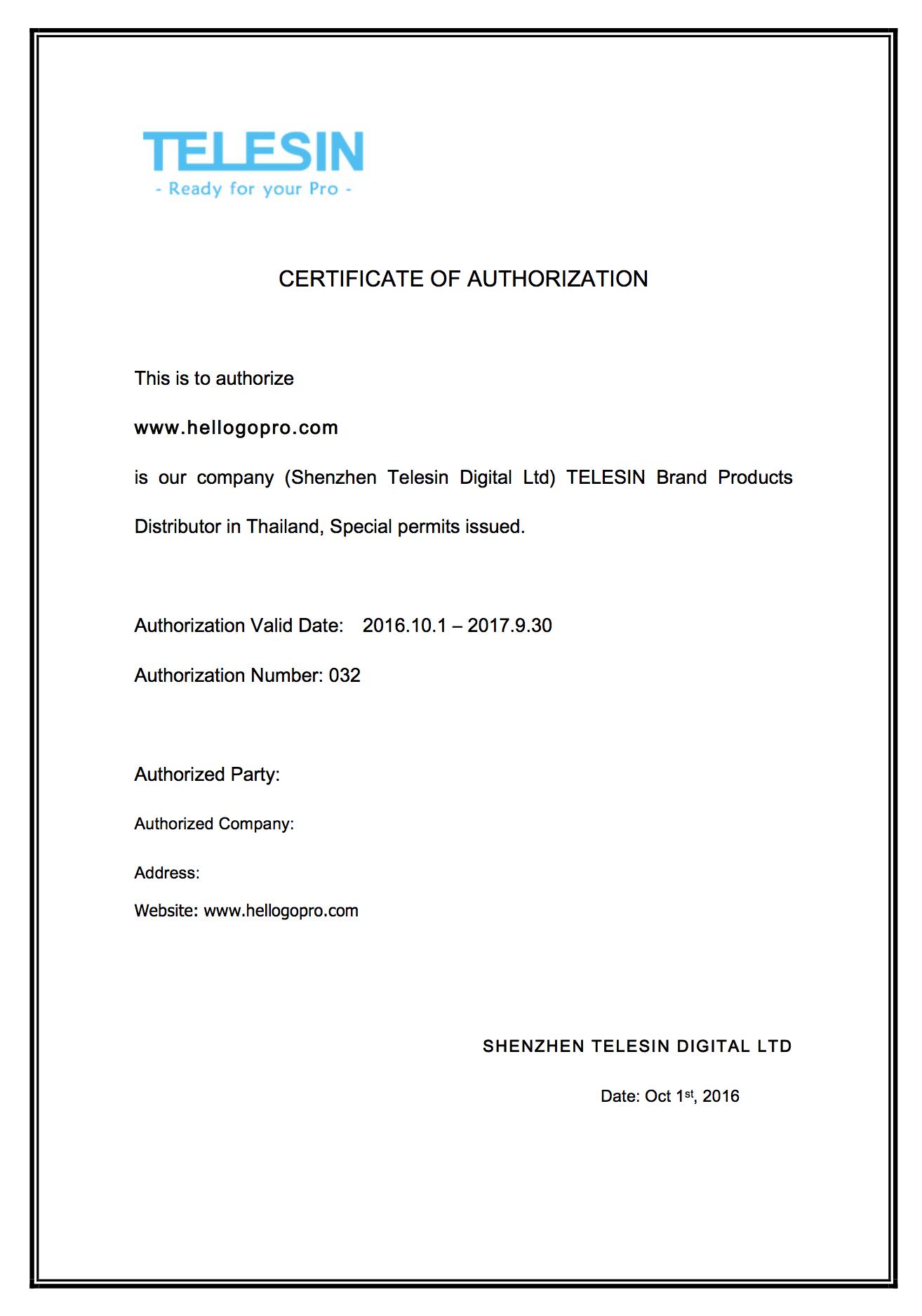 Telesin Certificate