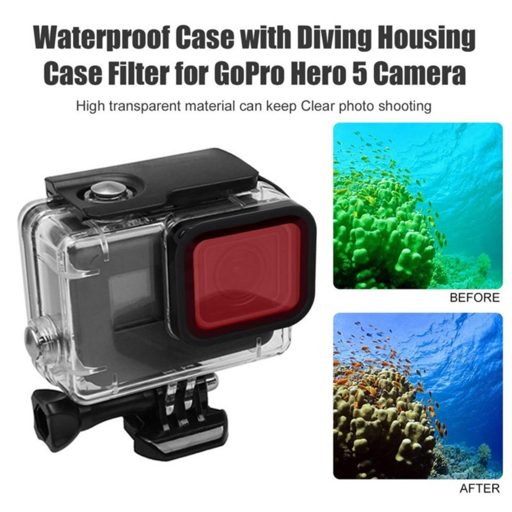 Telesin Red Lens Filter for GoPro Hero 5 6 waterproof housing without taking out Lens For Telesin Case ใส่กับเคสทีไม่ต้องถอดหน้าเลนส์