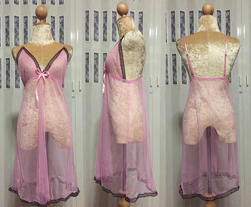 ชุดนอนสีชมพูยาว ภาพสินค้าจริง