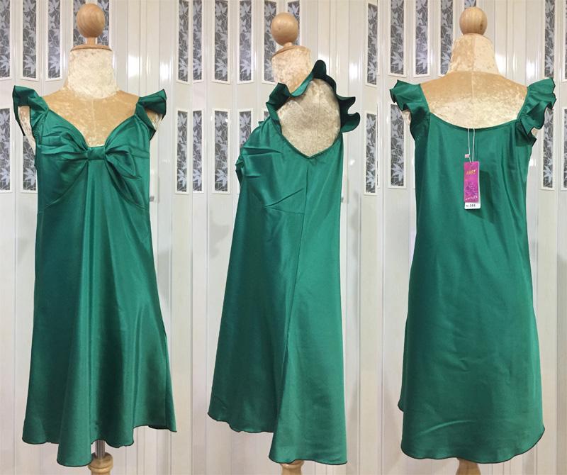 ภาพสินค้าจริง ชุดนอนผ้าซาติน แขนกุด โบว์เต็มหน้าอก สีเขียว