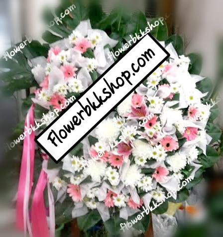 พวงหรีดดอกไม้สด รหัส WWR03