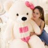 ตุ๊กตาหมีสีขาว ผูกผ้าพันคอ ขนาด 1.3 m.