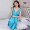 ชุดนอนผ้าซาติน แขนกุด โบว์เต็มหน้าอก สีฟ้า