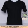 E.เสื้อยืดคอวี เสื้อเปล่า เสื้อยืดสีพื้น สีดำ ไซค์ขนาด 32 นิ้ว