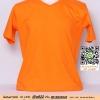 E.เสื้อยืดคอวี เสื้อเปล่า เสื้อยืดสีพื้น สีส้ม ไซค์ขนาด 32 นิ้ว