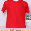 E.เสื้อยืดคอวี เสื้อเปล่า เสื้อยืดสีพื้น สีแดง ไซค์ขนาด 32 นิ้ว