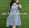 มินิเดรสยีนส์ ลายสก๊อตปักดอกผีเสื้อแดง ( Size ใหญ่ 42 )