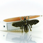 Dragonfly collection เข็มขัดผู้หญิงหนังแท้ - สีขาว