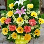 กระเช้าดอกไม้สด รหัส WBA02