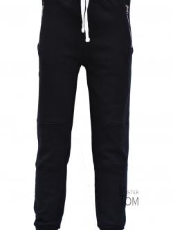JOGGER SWEATPANTS กางเกงกีฬาจ๊อกเกอร์ รุ่นใหม่ ขาเดฟ กระเป๋าซิป สีดำ