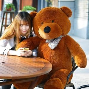ตุ๊กตาหมีตัวใหญ่ ผูกโบว์ สีน้ำตาล ขนาด 80 cm.