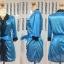 เสื้อคลุม/ชุดนอนผ้าซาติน สีฟ้า ประดับลูกไม้ดำ thumbnail 4