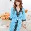 เสื้อคลุม/ชุดนอนผ้าซาติน สีฟ้า ประดับลูกไม้ดำ thumbnail 1