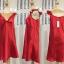 ชุดนอนผ้าซาติน แขนกุด โบว์เต็มหน้าอก สีแดง thumbnail 2
