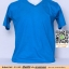 M.เสื้อยืดคอวี เสื้อเปล่า เสื้อยืดสีพื้น สีฟ้าเข้ม ไซค์ขนาด 48 นิ้ว