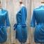 เสื้อคลุม/ชุดนอนผ้าซาติน สีฟ้า ลูกไม้ปลายแขน thumbnail 3