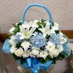 กระเช้าดอกไม้สด รหัส WBA14
