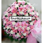 พวงหรีดดอกไม้สด รหัส WWR27