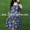มินิเดรสยีนส์ สกรีนลายดอกกุหลาบชมพูก้านยาว ( Size ใหญ่ 42 )