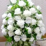 แจกันดอกไม้สด กุหลาบขาว รหัส WVA04