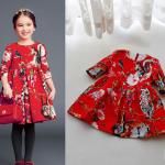 เดรสสีแดงสด ลายกระรอก ผ้าดีงานสวยมาก แพค 4 ชุด ขนาด100-130 *พร้อมส่ง*