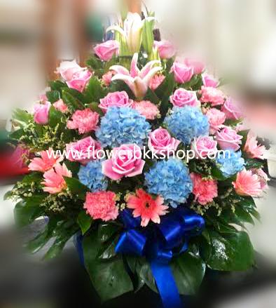 กระเช้าดอกไม้สด รหัส WBA06