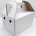 กล่องหูหิ้วสีขาวหลังเทา 31.5 x 21 x 18 cm